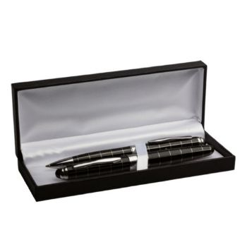 Personalised Striped Ballpoint and Rollerball Pen Set